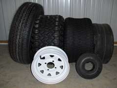 Trailer, mower, & small tires